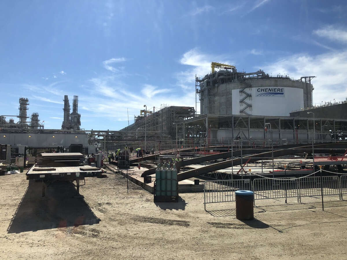 Construction continues at Corpus Christi LNG where Houston-based Cheniere Energy plans to build at least three production units that make liquefied natural gas.