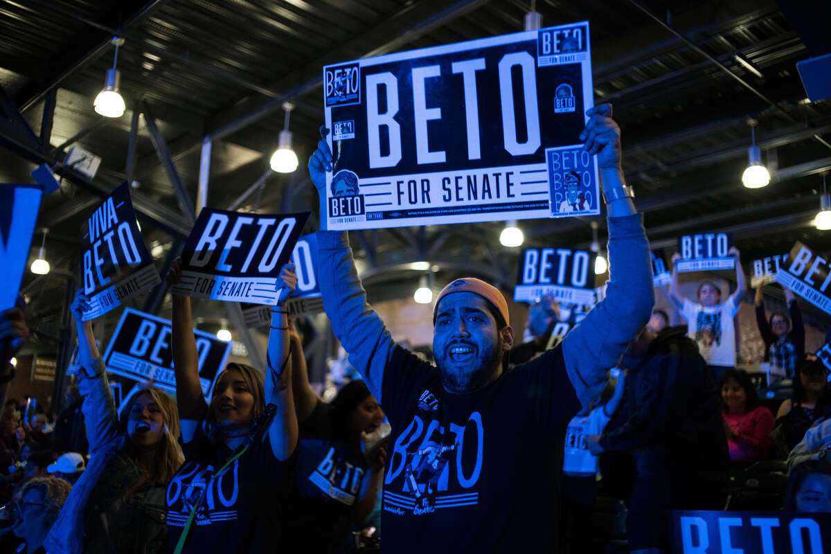 Texas congressman Beto O'Rourke, the democrat seeking to unseat Sen. Ted Cruz (R-Texas), hosts a party at Southwest University Park in El Paso, Texas, Nov. 6, 2018. The results the 2018 midterm elections have some in the party pushing moderation, while others, citing O'Rourke's close loss in Texas, want grass-roots inspiration. (Todd Heisler/The New York Times)
