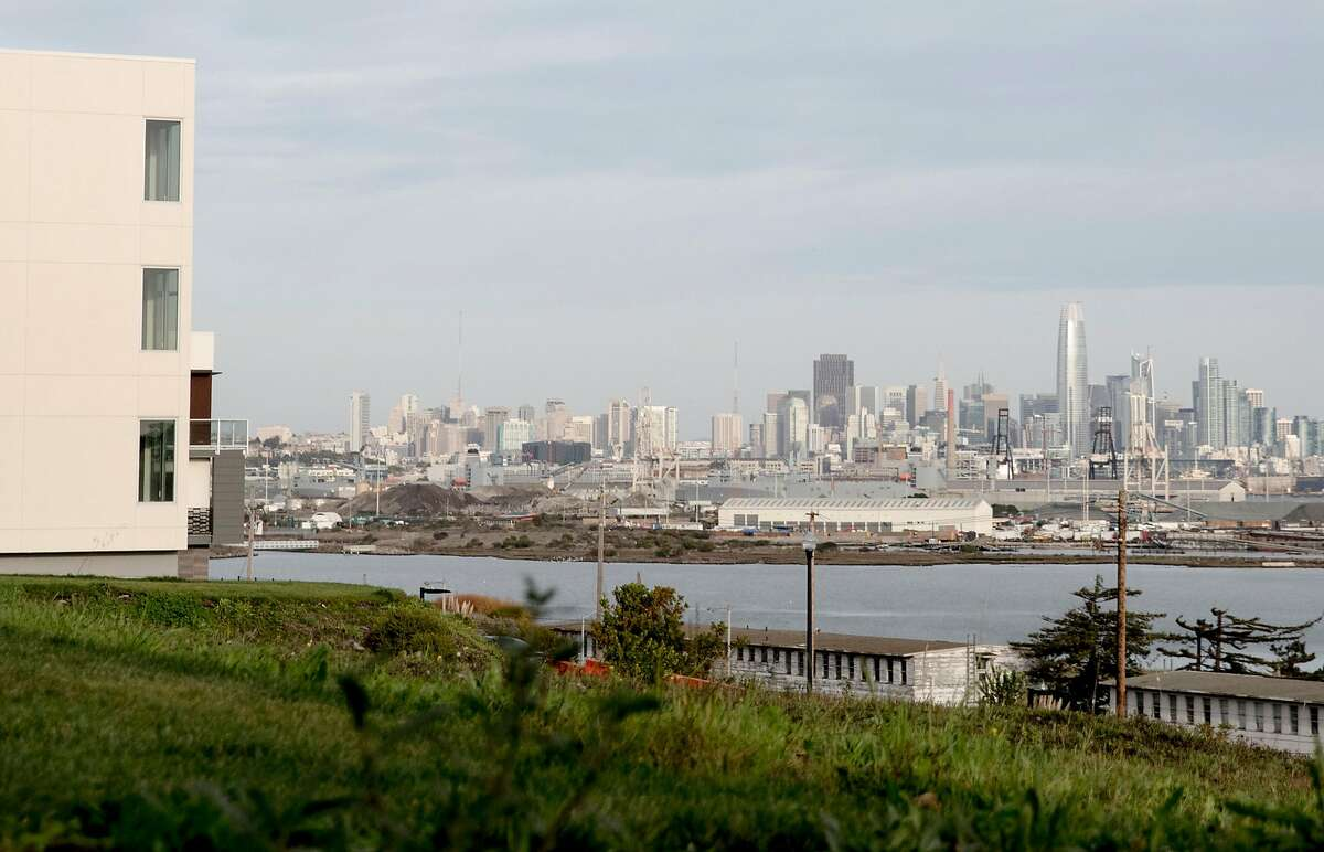 A newly-constructed housing development on Parcel A looks out onto the San Francisco skyline in the Hunters Point Naval Shipyard in the Hunters Point neighborhood of San Francisco, Calif. Wednesday, Nov. 28, 2018.