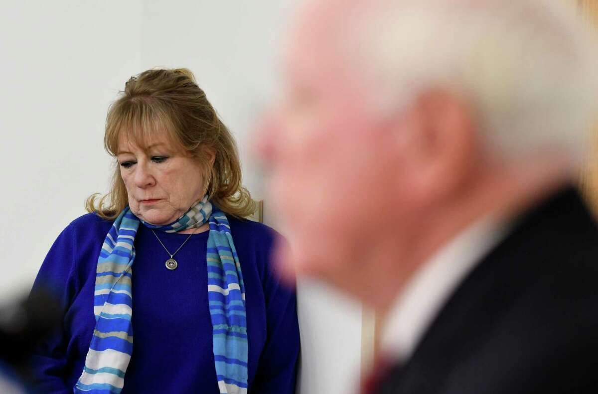Former St. Clare's Hospital employees, Mary Hartshorne, left, and Dr. Richard Gullott, right, address the media following a meeting with Bishop Edward Scharfenberger over hospital pension funding issues on Thursday, Dec. 20, 2018, at Siena College in Colonie, N.Y. (Will Waldron/Times Union)