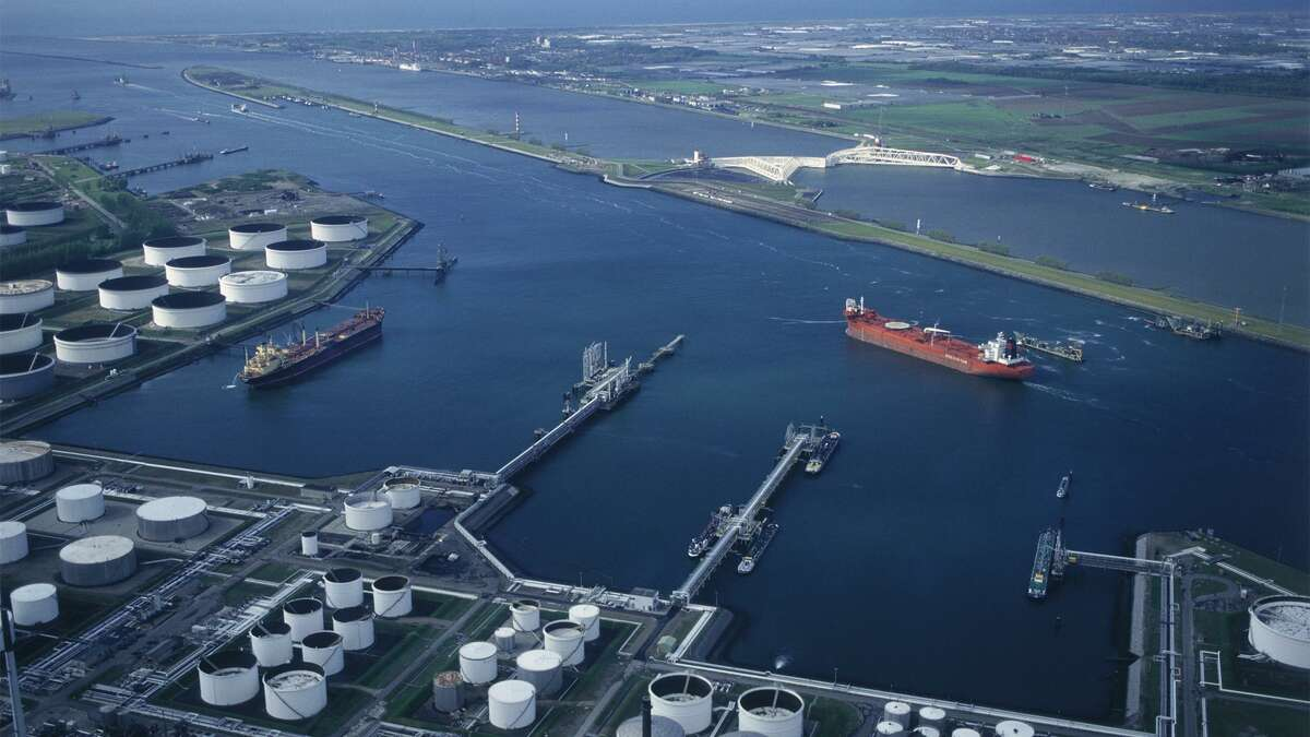 Aerial view of Moda Midstream's crude oil export terminal at the Port of Corpus Christi.