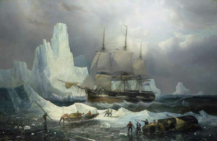 """Death in the Ice: The Mystery of the Franklin Expedition"" is a newly opened exhibit at Mystic Seaport Museum. This illustration (""HMS Erebus in the Ice, 1846, François Étienne Musin"") shows one of the ships that was involved. No one knew what had become of it until its wreckage was discovered in 2014. Objects such as the vessel's bell are part of this new show, which runs through April 28. Photo: © National Maritime Museum Greenwich London Caird Collection BHC3325 / Contributed Photo"