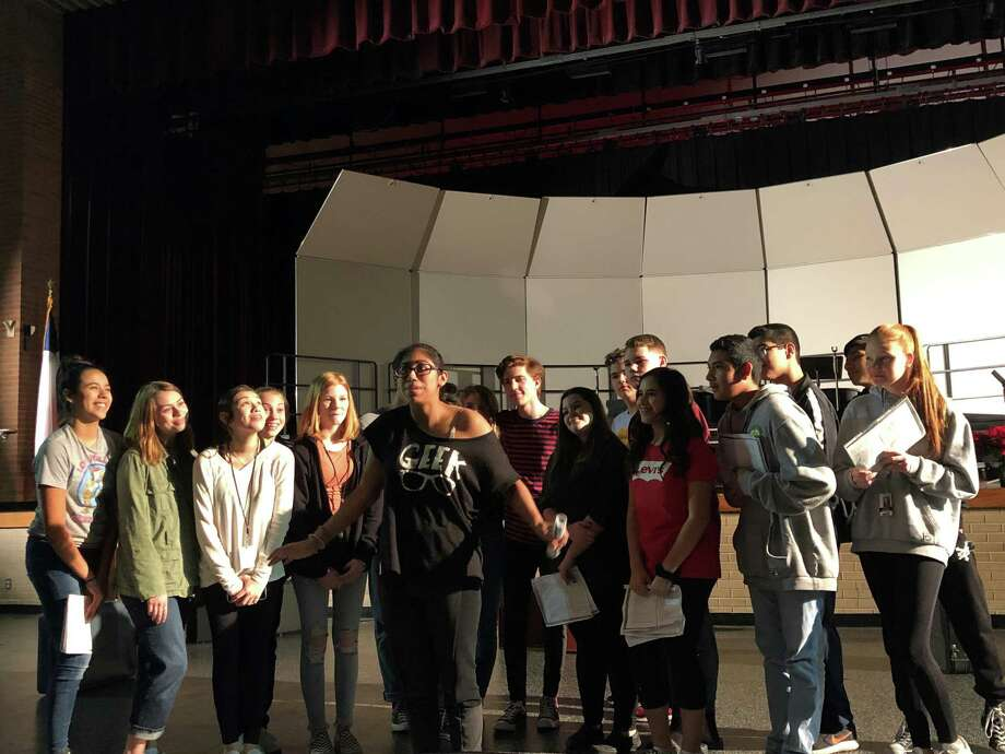"Deer Park High School actors rehearse a scene from the comedy ""Bob: A Life in Five Acts."""