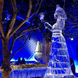 "Keeping with the Hans Christian Andersen theme designed by Stanlee Gatti for Gordon Getty's 85th birthday soiree, Gatti built a street side tent structure in homage to Andersen's ""The Snow Queen"" with an ice-bar sculpture by Kevin Roscoe. Dec. 16, 2018."