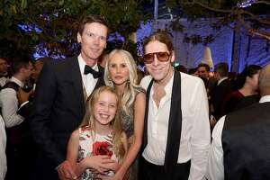 Billy Getty (left) with his wife, Vanessa, their daughter, Veronica, and his brother John Getty at his father's 85th birthday soiree. Dec. 16, 2018.