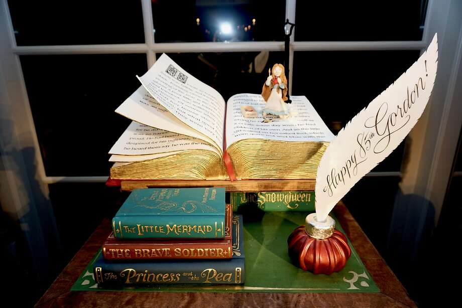 """Keeping with the Hans Christian Andersen theme designed by Stanlee Gatti, the birthday cake for Gordon Getty paid homage to his cantata """"The Little Matchstick Girl."""" Dec. 16, 2018. Photo: Catherine Bigelow / Special To The Chronicle"""