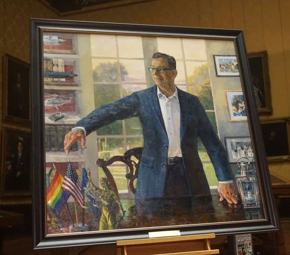 Gov. Dannel P. Malloy's official portrait was painted by Connecticut artist Christopher Zhang. It was unveiled at a ceremony at the Museum of Connecticut History in Hartford, Conn. on December 20, 2018.