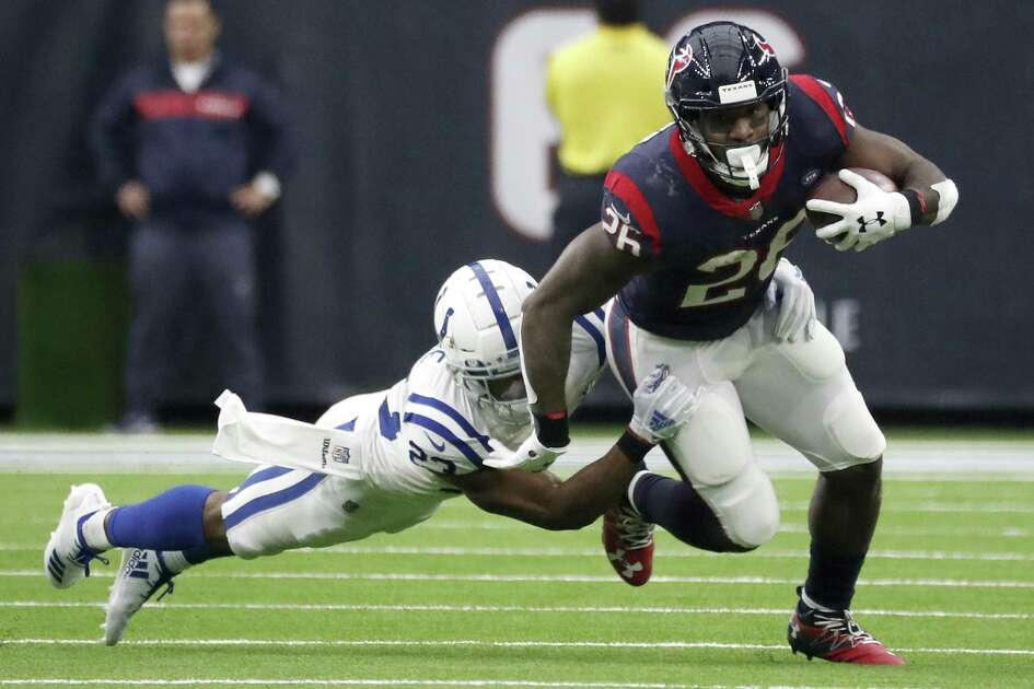 The beginning of the end for the Texans' 2018 ground game came in the Dec. 9 loss to the Colts in which running back Lamar Miller, right, and his cohorts other than Deshaun Watson failed to make any headway.
