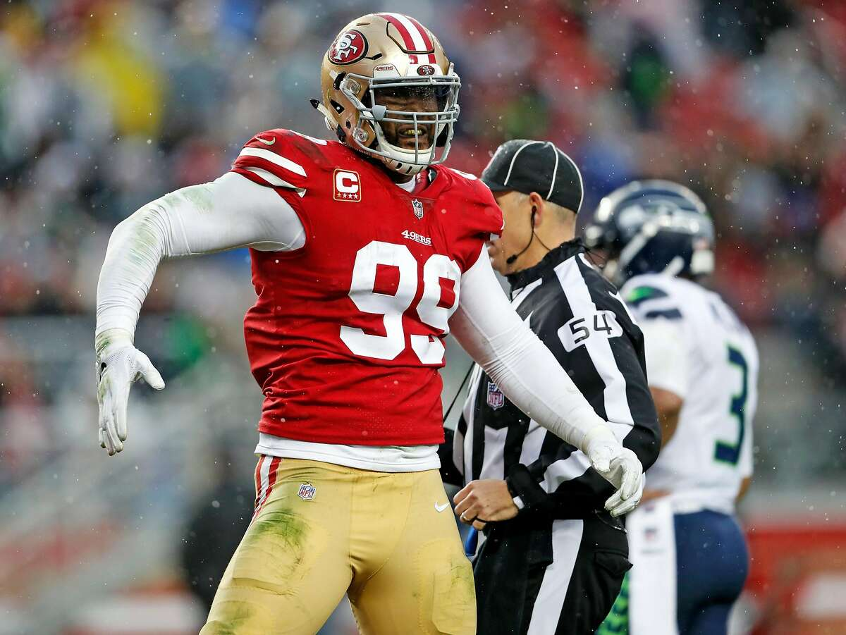 San Francisco 49ers' DeForest Buckner reacts to a defensive play in 4th quarter against Seattle Seahawks during Niners' 26-23 win in overtime in NFL game at Levi's Stadium in Santa Clara, Calif. on Sunday, December 16, 2018.