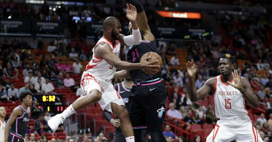 46af1a6839f Rockets fall to Heat as Chris Paul leaves with an injury - Houston ...