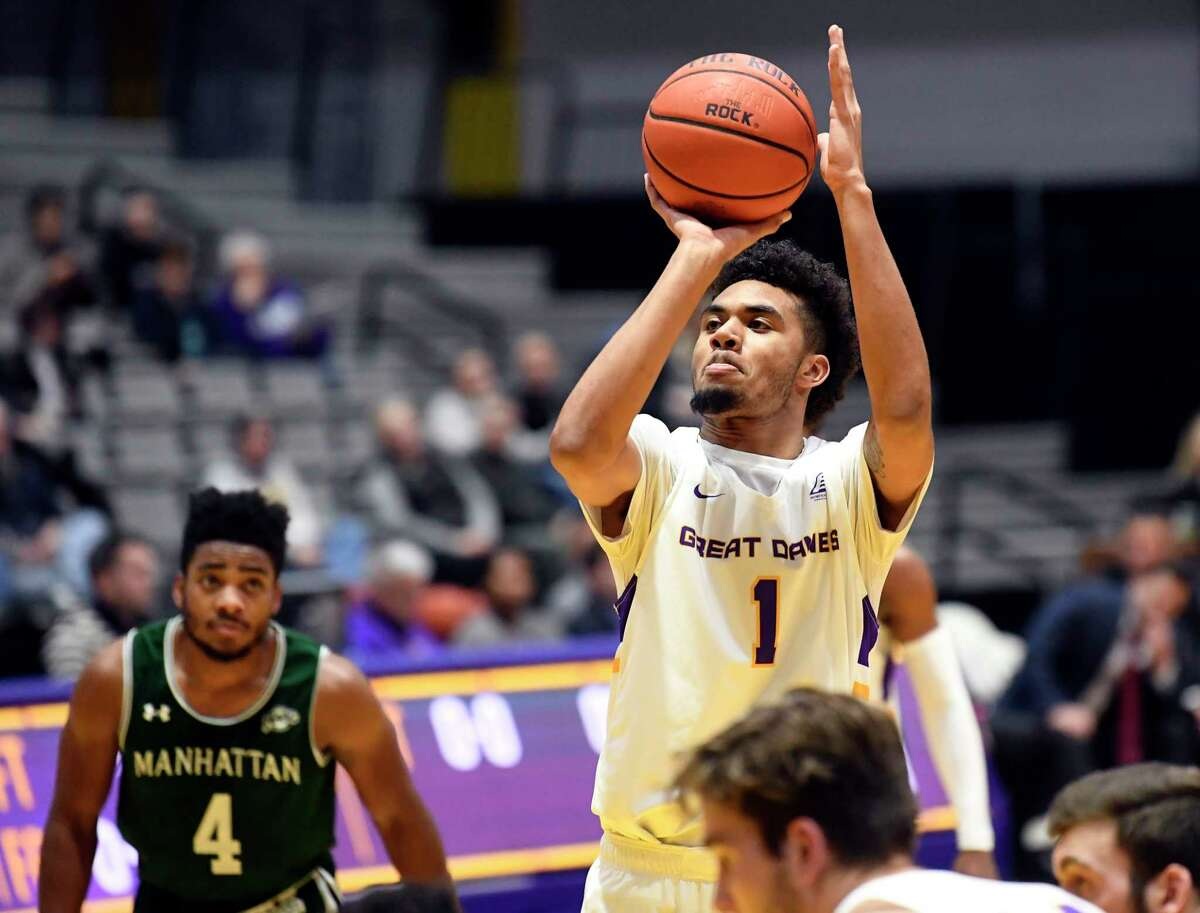 University at Albany forward Malachi De Sousa (1) shoots a free throw against Manhattan during the first half of an NCAA college basketball game Thursday, Dec 20, 2018, in Albany, N.Y. (Hans Pennink / Special to the Times Union)
