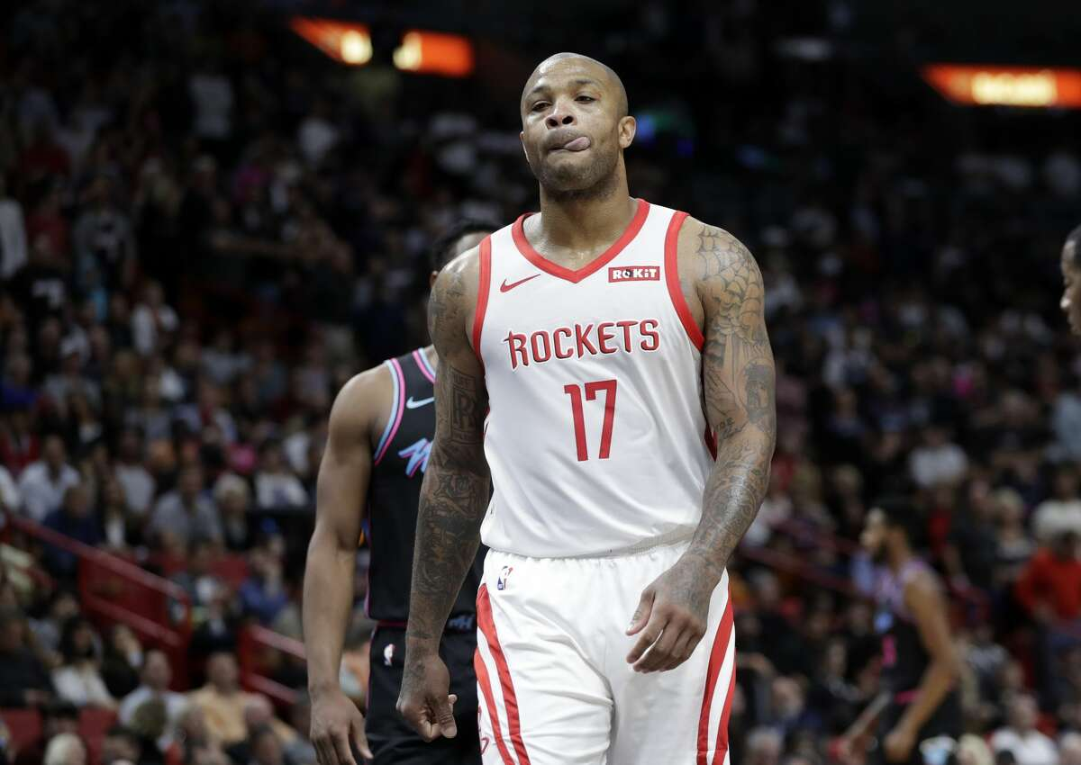 Houston Rockets forward PJ Tucker (17) reacts after being called for a foul during the second half of an NBA basketball game against the Miami Heat, Thursday, Dec. 20, 2018, in Miami. The Heat won 101-99. (AP Photo/Lynne Sladky)