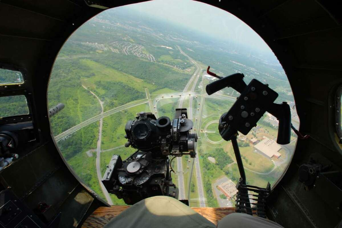 A view out of the nose where the bombardier sat aboard the Liberty Belle. (Paul Buckowski / Times Union)