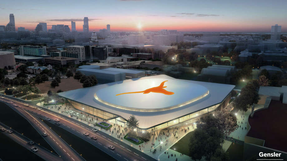 Artist renderings show a new University of Texas arena that will house men's and women's basketball games, graduations, concerts, and other events. Photo: COURTESY OF UT/GENSLER