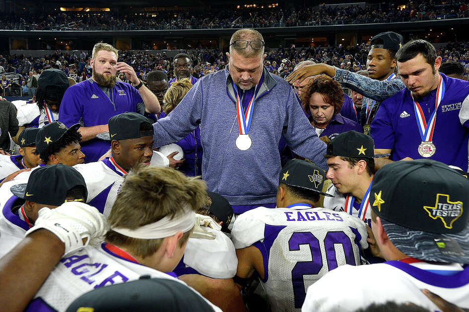 Newton's head coach W. T. Johnston gathers with his team after defeating Candian for a state title repeat victory in the Class 3A Div. II game at AT&T Stadium. Photo taken Thursday, December 20, 2018 Kim Brent/The Enterprise