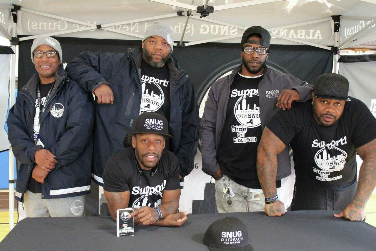 Back Row, left to right; Brother Demetrius, Jerome Brown, Justin Gaddy. Front Row, left to right; Shawn Cooks and Elijah Cancer. The five are part of Albany 518 SNUG. Cancer, an outreach worker for Albany 518 SNUG, was shot and killed  July 7, 2018.