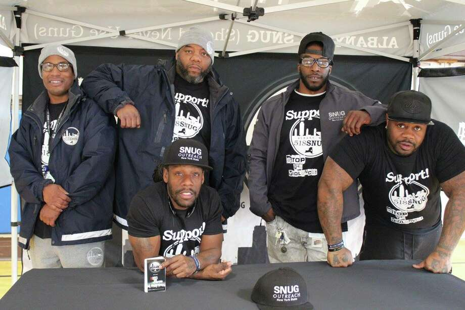 Back Row, left to right; Brother Demetrius, Jerome Brown, Justin Gaddy. Front Row, left to right; Shawn Cooks and Elijah Cancer. The five are part of Albany 518 SNUG. Cancer, an outreach worker for Albany 518 SNUG, was shot and killed  July 7, 2018. Photo: Albany 518 SNUG