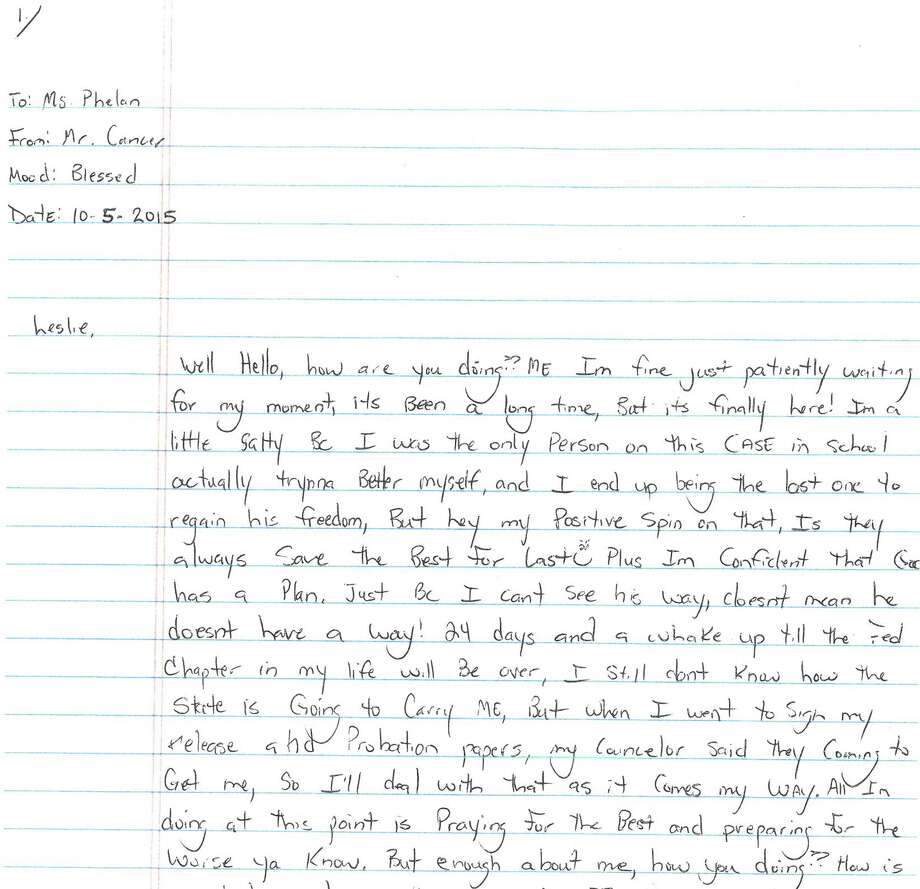 While he was in prison, Elijah Cancer wrote many letters to Leslie Phelan, director of the South End Community Outreach Center.