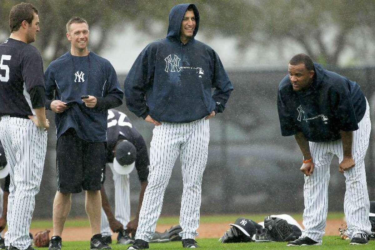 Major League Baseball player Phil Hughes, Dana Cavalea, Major League Baseball player Andy Pettitte, and Major League Baseball player CC Sabathia.