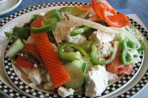 A colorful Greek salad at the Blue Colony Diner in Newtown.