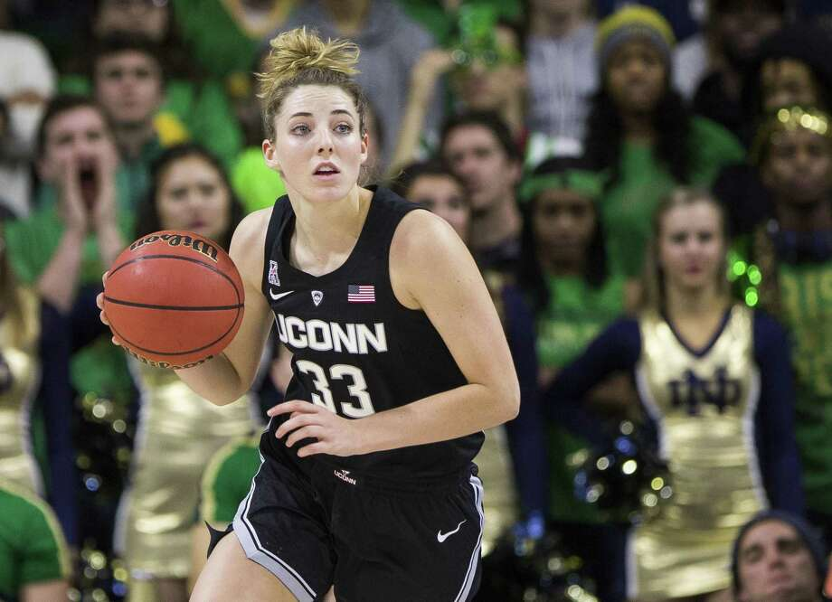 UConn's Katie Lou Samuelson dribbles against Notre Dame on Dec. 2 in South Bend, Ind. Connecticut won 89-71. Photo: Robert Franklin / Associated Press / FR17139 AP