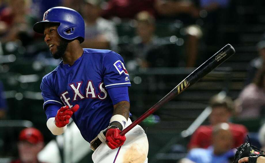 ARLINGTON, TX - SEPTEMBER 22:  Jurickson Profar #19 of the Texas Rangers bats in the sixth inning against the Seattle Mariners at Globe Life Park in Arlington on September 22, 2018 in Arlington, Texas.  (Photo by Richard Rodriguez/Getty Images) Photo: Richard Rodriguez/Getty Images
