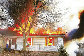 A fire destroyed the home of Greg and Kathy Crews Tuesday in the 4800 block of Rocky Branch Road in rural Dorsey, just one week before Christmas.