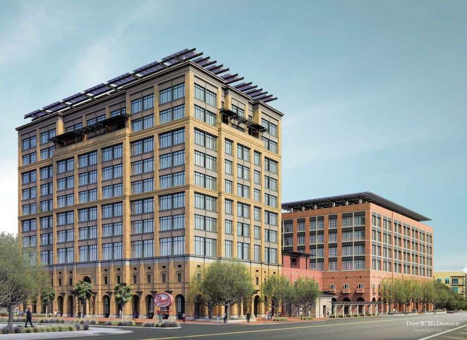 Wells drilled beneath Credit Human's new headquarters, left, and Silver Ventures' office building on Broadway, will supply the project with geothermal energy. Photo: Courtesy Rendering