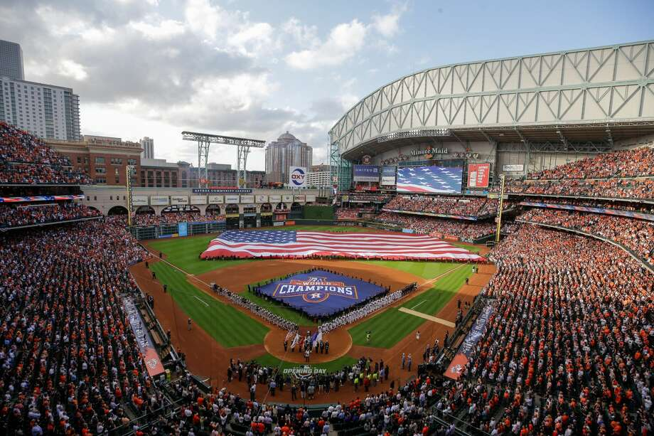 Houston Astros home opener pre-game ceremonies are shown Monday, April 2, 2018. Photo: Melissa Phillip/Houston Chronicle