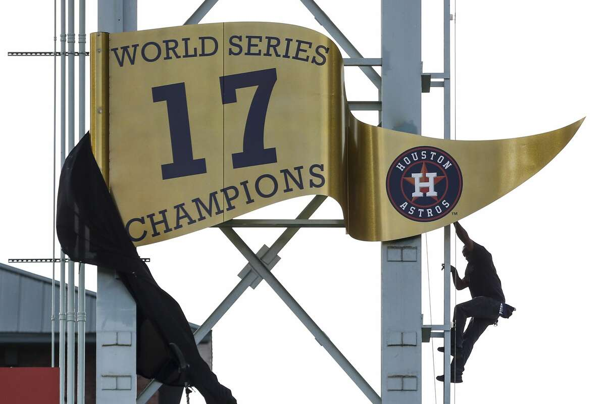 The World Series championship pennant is unveiled during pregame ceremonies at the Astros home opener at Minute Maid Park on April 2, 2018. It came a week shy of 56 years after the franchise's inaugural game in 1962.