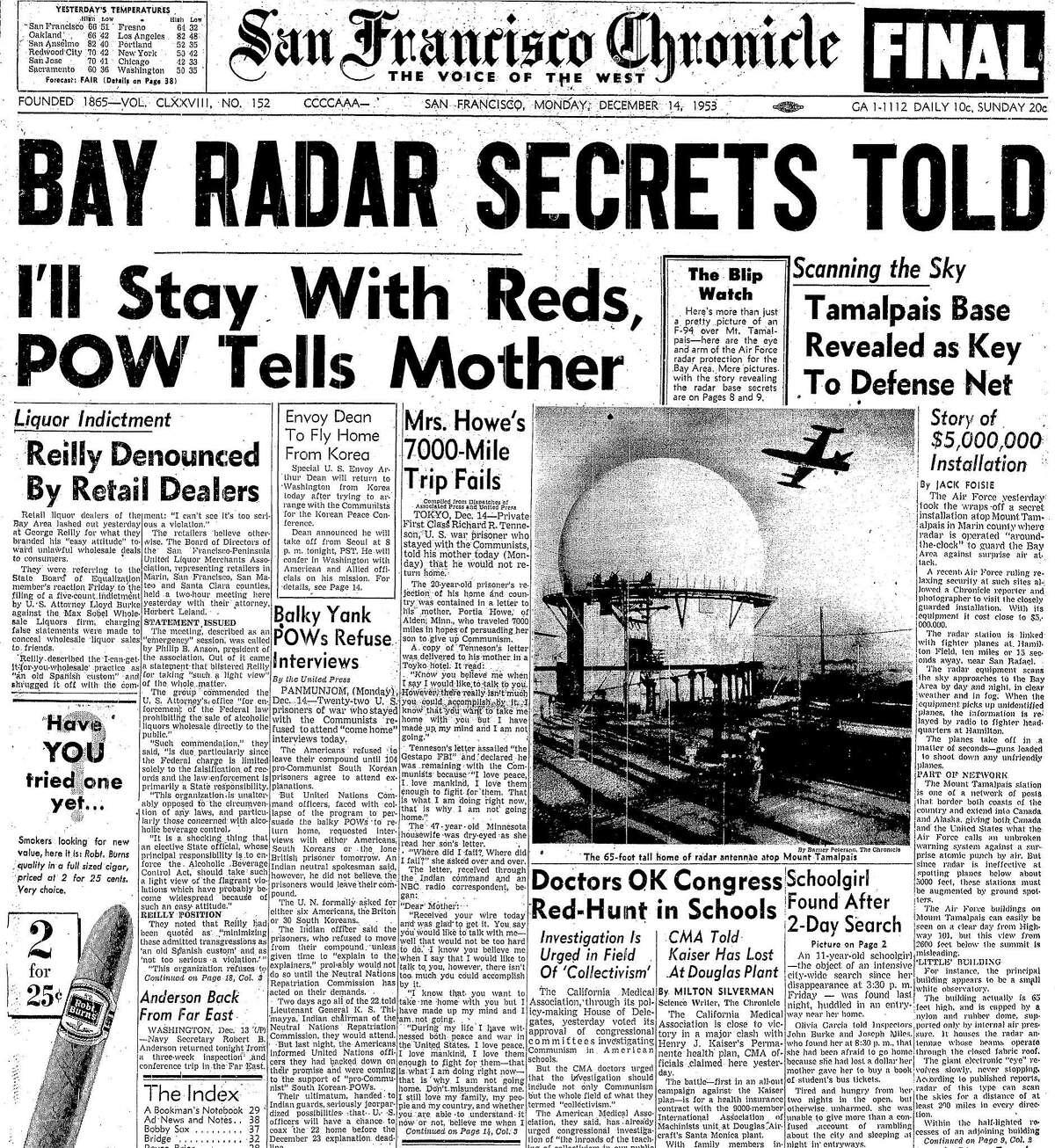 The December 14, 1953 Chronicle front dramatically reports on the
