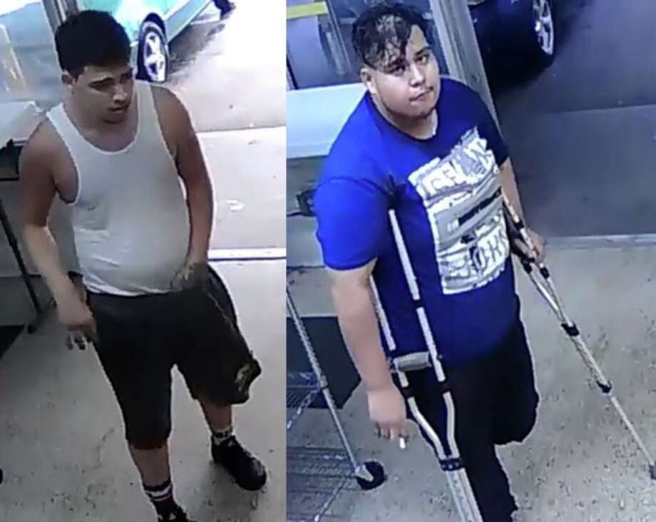 Nov. 4, 2018 – Two drenched suspects robbed a laundromat after attempting to dry their clothes at a washeteria in the 800 block of SSgt. Macario Garcia Drive in east Houston. One of the two men walked inside the business holding a wet blue shirt and asked if he could have it dried. Moments later, the second suspect walked in on crutches and asked to borrow a phone. After he was done, the suspects then demanded money from the employee, who initially resisted. One of the suspects then pulled out a handgun. It is unclear if they made off with any money. Photo: Houston Police Department