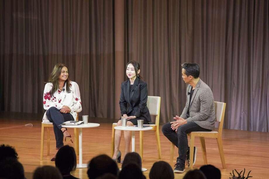 Krishna Patel, Yeonmi Park and Richard Lui. Photo: Contributed Photo