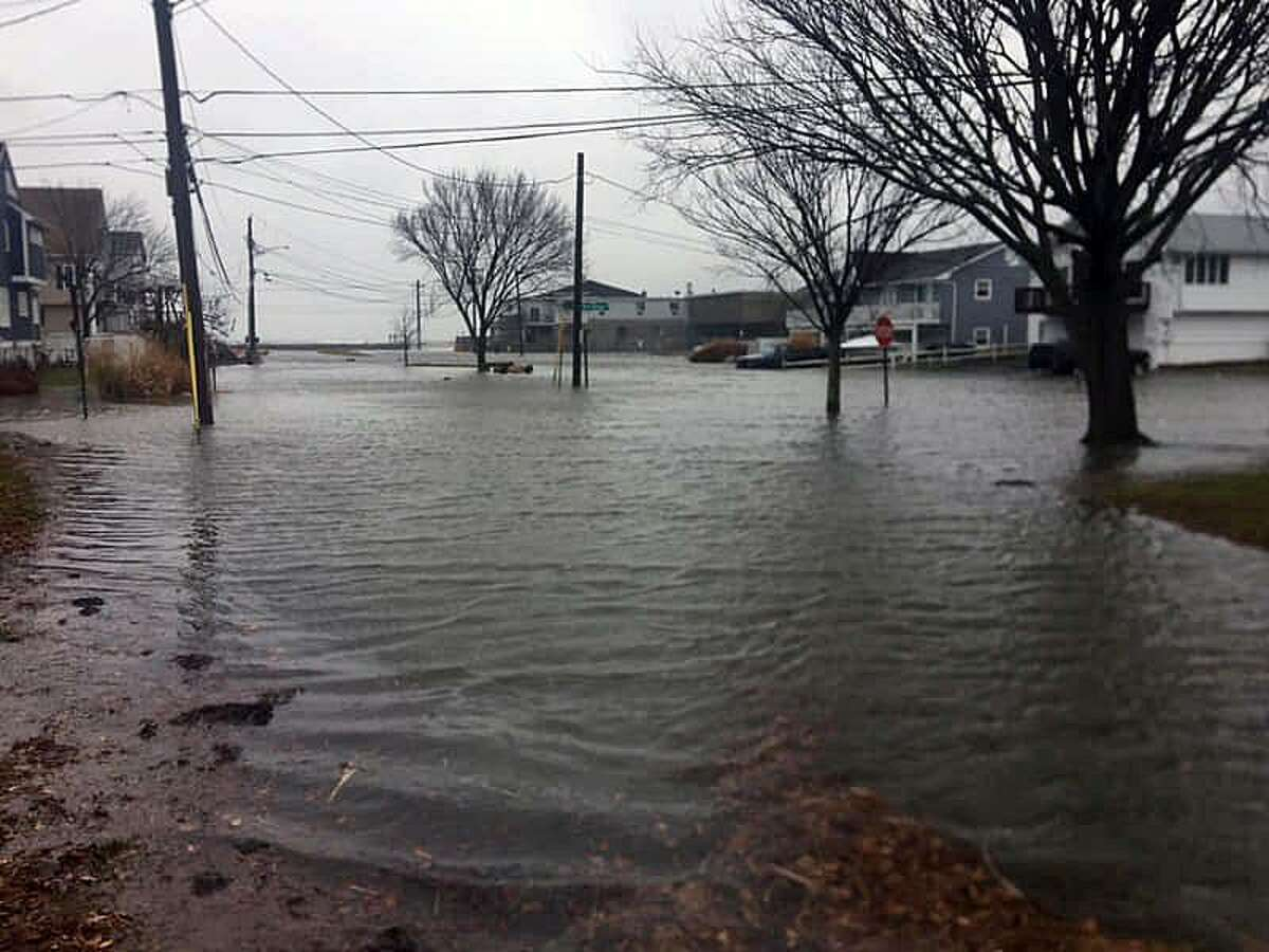 Officials provided photos of flooded roadways in Stratford, Conn., on Dec. 21, 2018.
