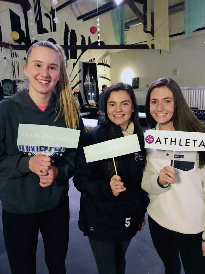 LiveGirl high school mentors and New Canaan residents Lillie Gray, Phoebe Kurth, and Caroline Cioffi at the LiveGirl Kindness Summit on Dec. 7. Photo: Contributed Photo