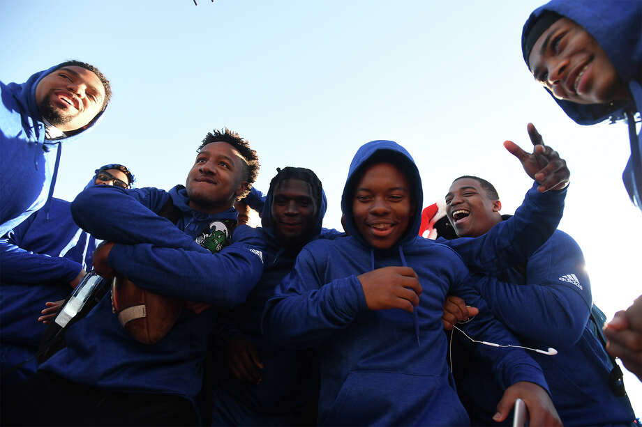 West Brook football players celebrate during Friday's pep rally before heading to Dallas for a state-title game.  The Bruins will play Longview at the Cowboys stadium at 3 p.m. Saturday.  Photo taken Friday, 12/21/18 Photo: Guiseppe Barranco/The Enterprise / Guiseppe Barranco ?