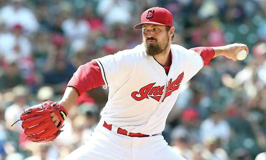 Free-agent pitcher Andrew Miller has agreed to terms on a two-year deal with the Cardinals, with a vesting option for 2021. He is shown in action for the Indians. He led Cleveland to the 2016 World Series and was named the ALCS MVP that year. Photo: File Photo