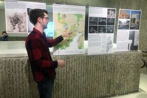 "Jonathan Hopkins describes his exhibit for members of The New Haven Preservation Trust. The exhibit ""Redevelopment: The Story of Church Street South,"" at YalesSchool of Architecture, will be open weekdays from 9-5 until Jan 3."