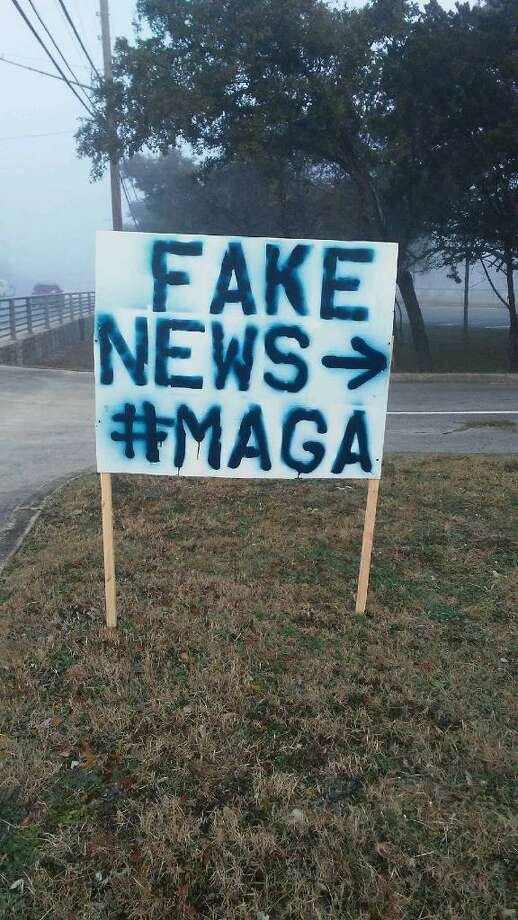 . A reader cautions against blaming the president for this sign, which appeared outside the Campus of the San Antonio Jewish Community, Photo: Courtesy Photo