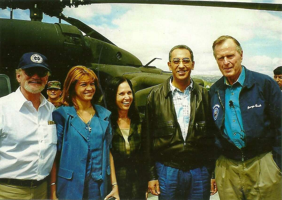 Amb. James Creagan is far left. Then-Honduran President Carlos Roberto Flores is standing next to President George H.W. Bush during a 1998 visit to see devastating hurricane damage.