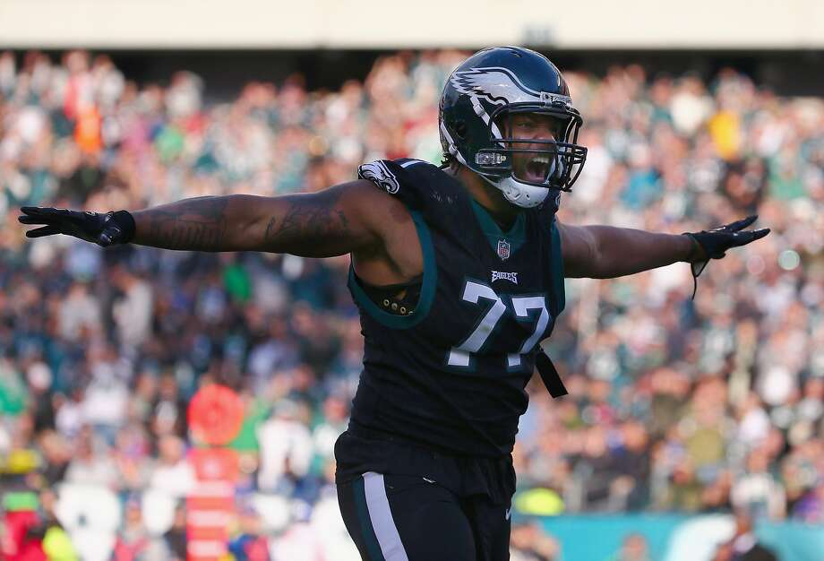 PHILADELPHIA, PA - NOVEMBER 25:  Defensive end Michael Bennett #77 of the Philadelphia Eagles celebrates a sack against the New York Giants during the third quarter at Lincoln Financial Field on November 25, 2018 in Philadelphia, Pennsylvania. The Philadelphia Eagles won 25-22. (Photo by Mitchell Leff/Getty Images) Photo: Mitchell Leff, Getty Images