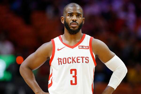 MIAMI, FL - DECEMBER 20: Chris Paul #3 of the Houston Rockets looks on against the Miami Heat at American Airlines Arena on December 20, 2018 in Miami, Florida. NOTE TO USER: User expressly acknowledges and agrees that, by downloading and or using this photograph, User is consenting to the terms and conditions of the Getty Images License Agreement. (Photo by Michael Reaves/Getty Images)