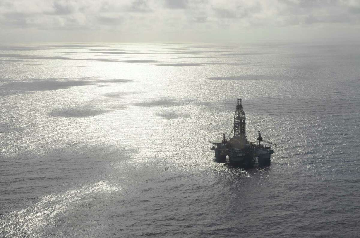 An aerial view of an Ensco 8502 drilling rig in the Gulf of Mexico.