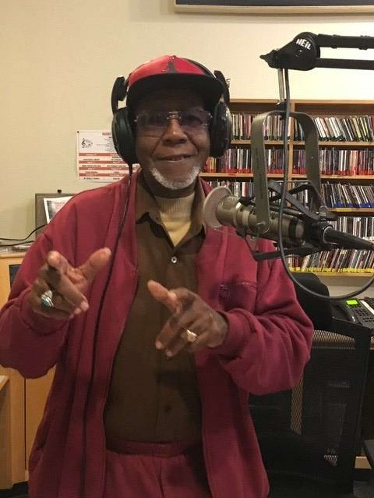 Emmit Powell at KPFA after completing chemotherapy for pancreatic cancer