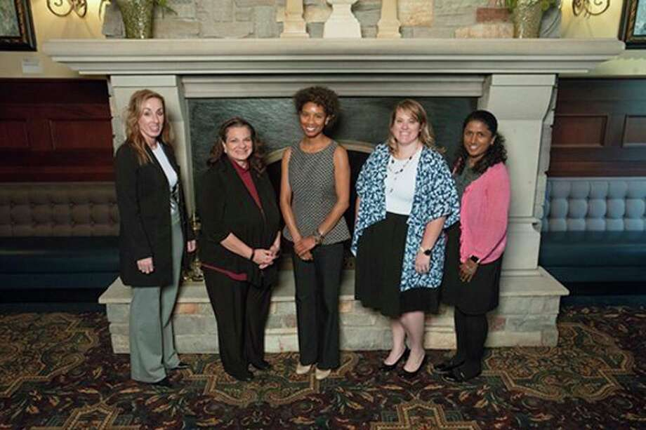 From left, Jeannette Stein, University of Michigan-Flint; Amy Radford-Popp, Michigan State University; Michelle Bruner, Wayne State; Karry Kiste-Toner, Mid Michigan College; and Anne Crain, MSU, make up the 2018-2019 job shadow cohort through the Michigan American Council on Education Women's Network. (Photo provided)