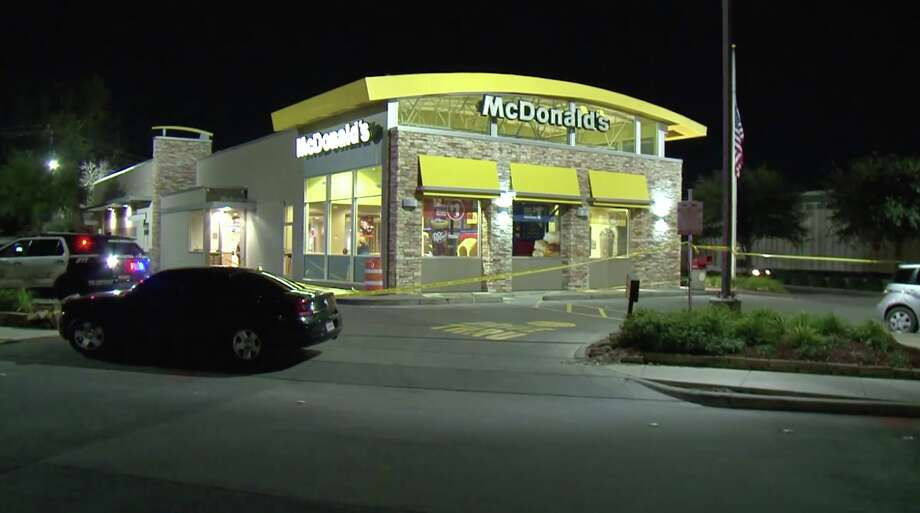 A man trying to rob a McDonald's on the Northwest Freeway was hospitalized after being shot by a customer Friday night. Photo: Metro Video