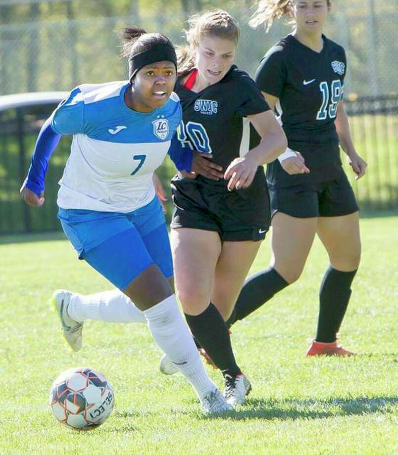 LCCC's Boitumelo Rabale (7), who was named Region 24 Player of the Year, moves the ball against Southwestern Illinois College in the Region 24 Tourney title game at LCCC. Photo: Telegraph File Photo