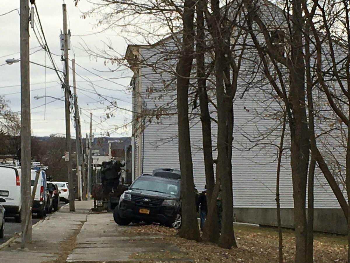 A SWAT team entered a First Street house after a shots-fired report.