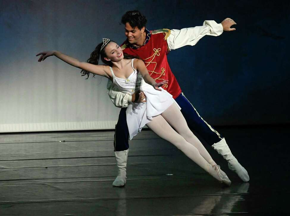 Clara peformed by Georgia Macy, left, and Nutcracker performed by Christian Serrano dance as cast members of the Saratoga City Ballet perform their 25th anniversary performance of The Nutcracker Ballet at The Hart Theater Saturday, Dec. 22, 2018, in Albany, N.Y. (Hans Pennink / Special to the Times Union)