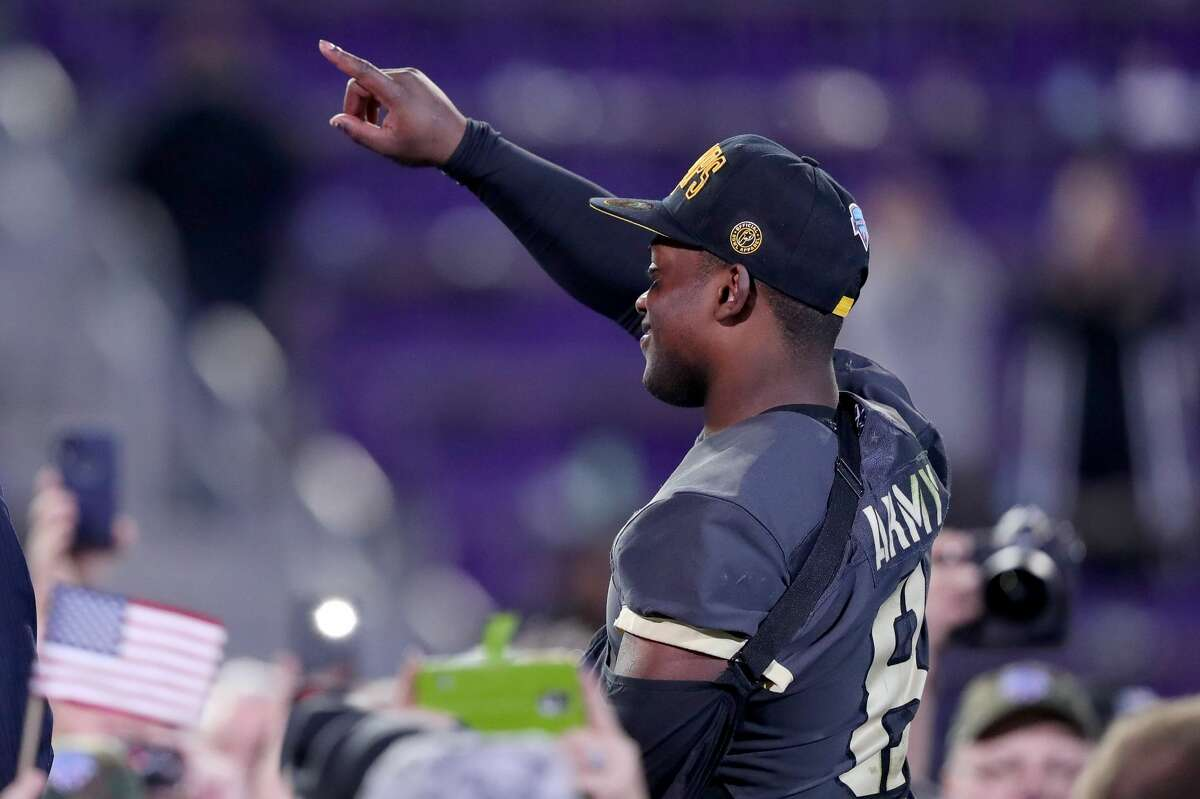 FORT WORTH, TEXAS - DECEMBER 22: Kelvin Hopkins Jr. #8 of the Army Black Knights celebrates after the Army Black Knights beat the Houston Cougars 70-14 in the Lockheed Martin Armed Forces Bowl at Amon G. Carter Stadium on December 22, 2018 in Fort Worth, Texas. (Photo by Tom Pennington/Getty Images)